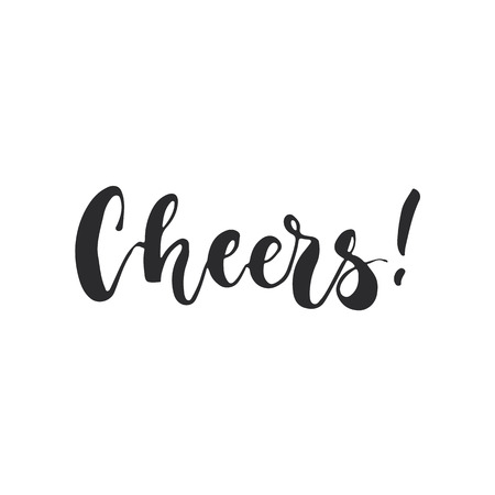 overlays: Cheers - lettering Christmas and New Year holiday calligraphy phrase isolated on the background. Fun brush ink typography for photo overlays, t-shirt print, flyer, poster design Illustration
