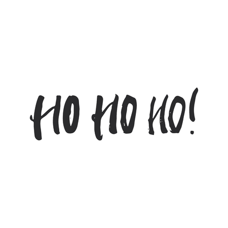 ho: Ho Ho Ho - lettering Christmas and New Year holiday calligraphy phrase isolated on the background. Fun brush ink typography for photo overlays, t-shirt print, flyer, poster design