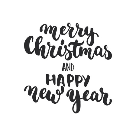 overlays: Merry Christmas and Happy New Year - lettering holiday calligraphy phrase isolated on the background. Fun brush ink typography for photo overlays, t-shirt print, flyer, poster design