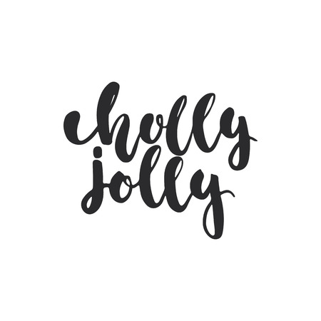 overlays: Holly jolly - lettering Christmas and New Year holiday calligraphy phrase isolated on the background. Fun brush ink typography for photo overlays, t-shirt print, flyer, poster design