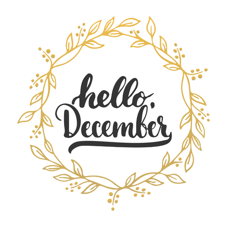 Hand drawn typography lettering phrase Hello, December isolated on the white background. Fun brush ink calligraphy inscription for winter greeting invitation card or print design Vectores