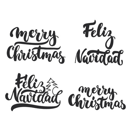 overlays: Lettering Christmas and New Year holiday calligraphy phrases photo overlays set isolated on the white background. Fun brush ink typography for illustrations, t-shirt print, flyer, poster design. Illustration