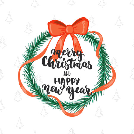 overlays: Merry Christmas and Happy new year - lettering holiday calligraphy phrase isolated with Christmas wreath. Fun brush ink typography for photo overlays, t-shirt print, flyer, poster design.
