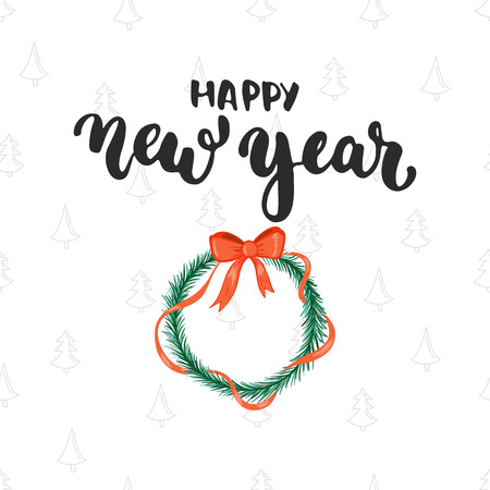 overlays: Happy new year - lettering Christmas holiday calligraphy phrase isolated on the background. Fun brush ink typography for photo overlays, t-shirt print, flyer, poster design.