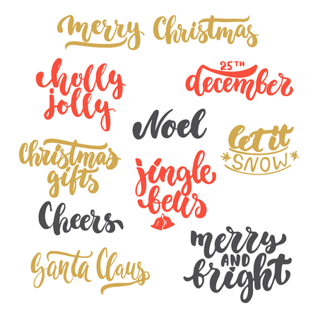 Lettering Christmas And New Year Holiday Calligraphy Phrases ...