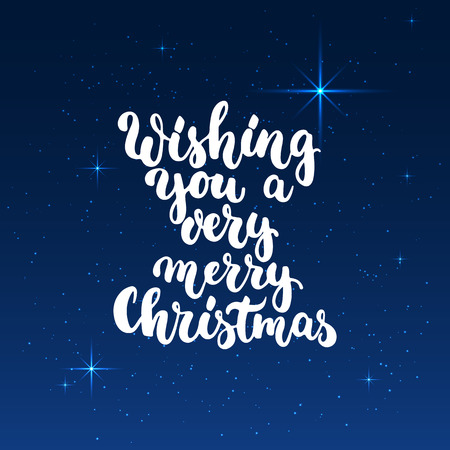 wishing: Wishing you a very merry Christmas - lettering holiday calligraphy phrase isolated on the background. Fun brush ink typography for photo overlays, t-shirt print, flyer, poster design.