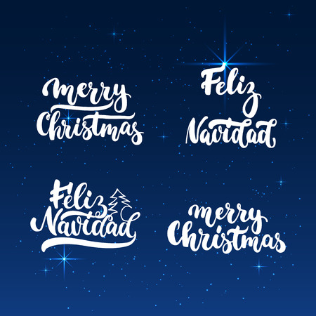 overlays: Lettering Christmas and New Year holiday calligraphy phrases photo overlays set isolated on the white background. Fun brush ink typography for illustrations, t-shirt print, poster design Illustration