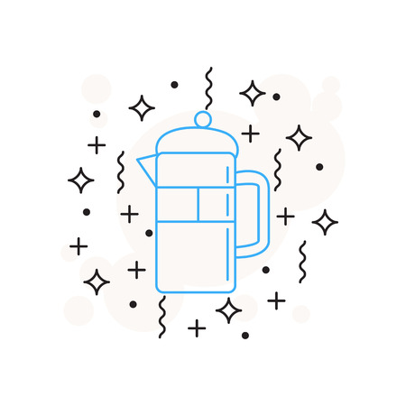 Separate coffee icon is drawn in a linear style isolated on white background with stars, lines, circles Illustration