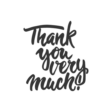 Thank you very much - hand drawn lettering phrase isolated on the white background. Fun brush ink inscription for photo overlays, greeting card or t-shirt print, poster design Иллюстрация