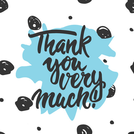 Thank you very much - hand drawn lettering phrase isolated on the white background. Fun brush ink inscription for photo overlays, greeting card or t-shirt print, poster design. Illustration