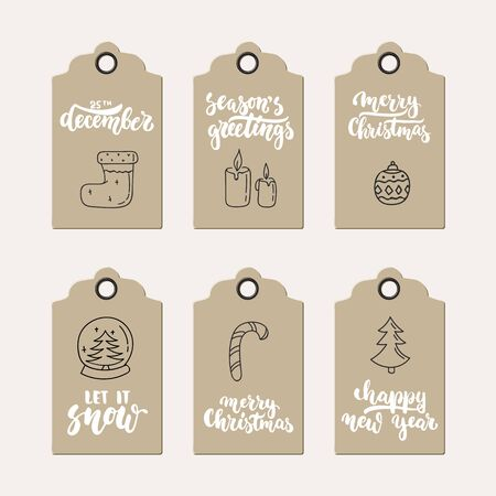 holiday invitation: Set of 6 Christmas and New Year gift tags with hand drawn brush lettering. Holiday invitation