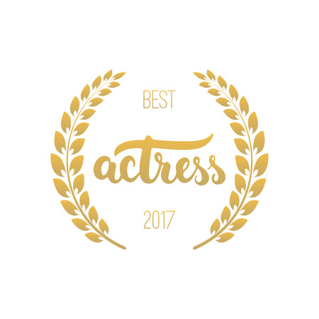 Awards of best with wreath and 2017 text. Golden color cinema illustration isolated on the white background
