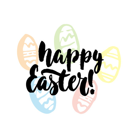 Happy Easter - hand drawn spring holiday lettering phrase isolated on the white background. Fun brush ink inscription for photo overlays, greeting card or t-shirt print, poster design.
