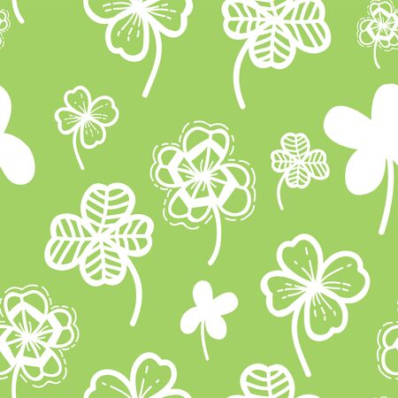 Seamless pattern vector floral background with hand drawn clover leaf for Patricks Day