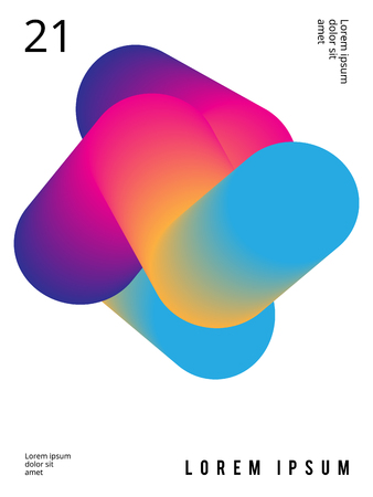 Fluid poster in colorful modern style with abstract elements. Template design layout.