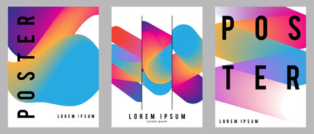 Fluid posters set in colorful modern style with abstract elements. Template design layout. Stock Illustratie