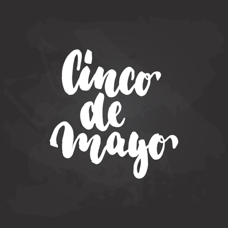 Cinco de Mayo - mexican greeting card hand drawn lettering phrase on the black chalkboard background.