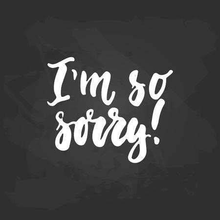Im así que lo siento - la frase escrita a mano de la letra aislada en el fondo negro de la pizarra. Foto de archivo - 74733442