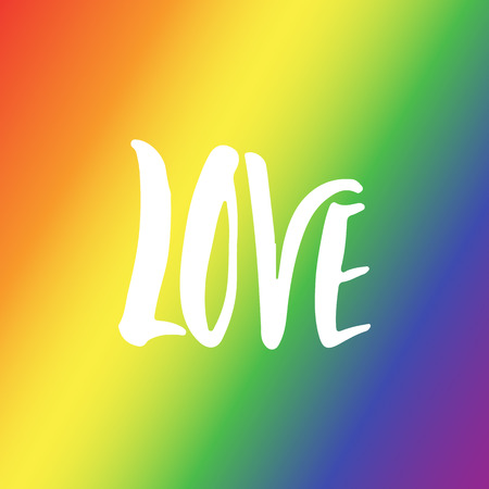 Love - LGBT slogan hand drawn lettering quote isolated on the rainbow flag background. Fun brush ink inscription for photo overlays, greeting card or t-shirt print, poster design