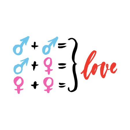 Love - man and woman signs in different combinations, hand drawn lettering isolated on the white background. Fun brush ink inscription for greeting card or t-shirt print, poster design