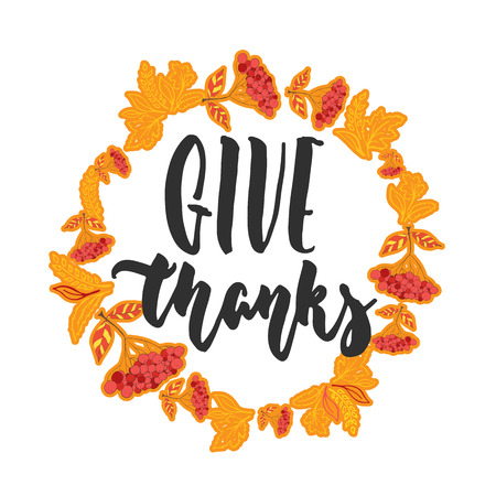 Give thanks - hand drawn latin Thanksgiving Day lettering quote. 向量圖像