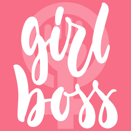 Girl boss - hand drawn lettering phrase about woman, female, feminism on the pink background. Fun brush ink inscription for photo overlays, greeting card or print, poster design