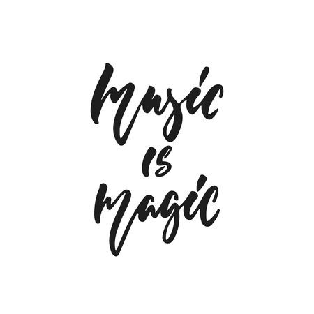 Music is magic hand drawn lettering quote Stock Illustratie