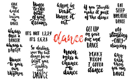 Hand drawn lettering quotes about Dance collections vector illustration set Illustration