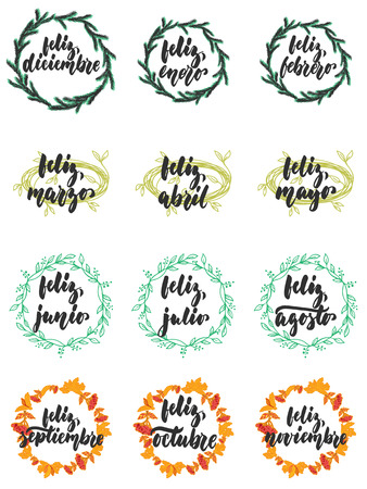 Hand drawn lettering phrase Feliz, meses in spanish collections isolated on the white background. Fun brush ink vector calligraphy illustrations set for banners, poster design. 版權商用圖片