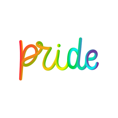Rainbow Pride 3D lettering quote isolated on the white background.