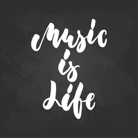 Music is life - hand drawn Musical lettering phrase isolated on the black chalkboard background. Vector Illustratie