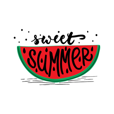 Sweet Summer - hand drawn positive lettering phrase isolated on the white background. Fun brush ink vector quote for banners, greeting card, poster design, photo overlays Ilustrace