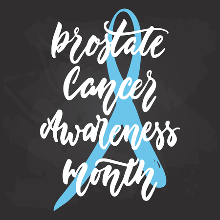 October Prostate Cancer Awareness Month hand drawn lettering phrase on black chalkboard background. Brush ink vector quote for banners, greeting card, poster design Illustration