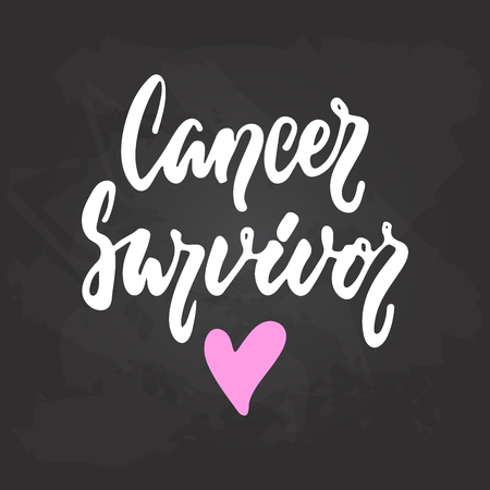 Cancer Survivor - hand drawn October Breast Cancer Awareness Month lettering phrase on black chalkboard background. Brush ink vector quote for banners, greeting card, poster design