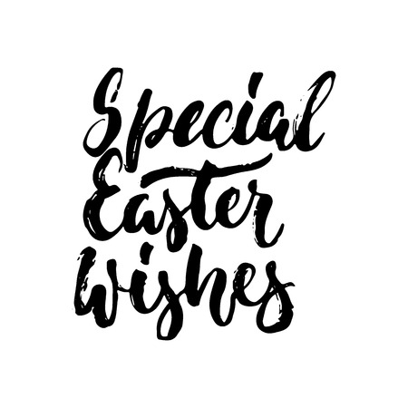 Special Easter wishes - spring hand drawn lettering calligraphy phrase isolated on white