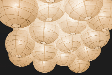 Paper Chinese lamps on the ceiling. Reklamní fotografie