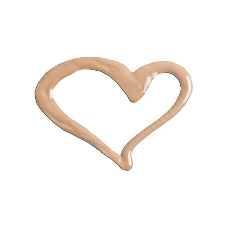 Texture of liquid foundation isolated on white surface with figure in the shape of heart. Cosmetics advertising concept.