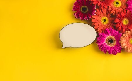 Bright beautiful gerbera flowers and bubble speech on sunny yellow background. Mothers Day, Valentine holiday. Place for text, lettering or product. View from above, Copy space. Flatlay.