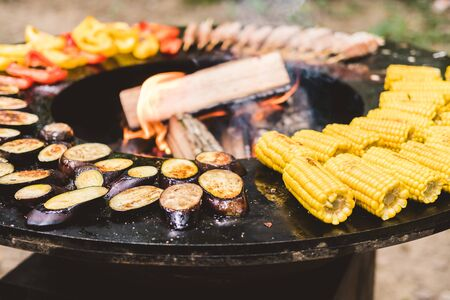 Round barbecue grill with open fire inside. Meals for summer picnic are being prepared: corn, eggplant, bell pepper, kebab.