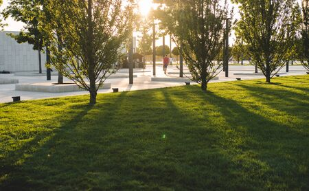 Long shadows from trees on green grass in park. Silhouettes of unrecognizable people. Stock Photo - 129062786