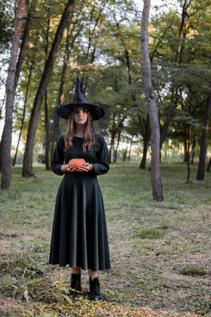 Young woman in dark dress and witch hat holds a pumpkin in her hands. Halloween party costume. Forest, park with autumn trees.