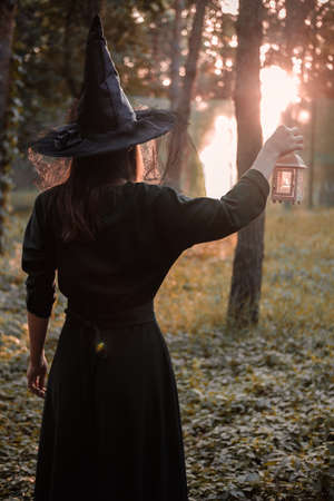 Young woman in dark dress and witchs hat holds lantern with candles in her hands and illuminates the forest. Halloween party costume. Park with autumn trees. Reklamní fotografie