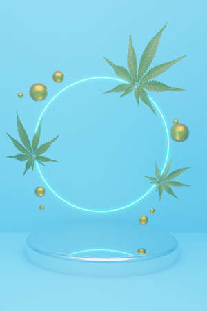 Cylindrical geometric mockup podium on colored background with golden glittering balls and and hemp leaves. Minimalistic style for advertising cosmetics product. 3d render illustration.