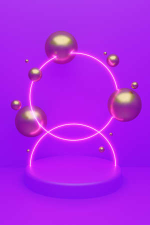 Cylindrical geometric mockup podium on colored background with golden glittering balls and luminous circle backlighting. Minimalistic style for advertising cosmetics product. 3d render illustration. Reklamní fotografie - 157005785