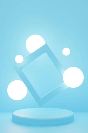 Cylindrical geometric podium mockup on blue background with illuminated circles and rectangular photo frame. Minimalistic trendy style for advertising cosmetics or product. 3d render illustration. Reklamní fotografie