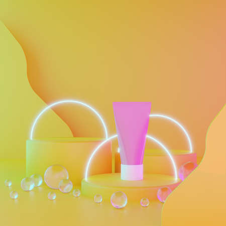 Three cylindrical geometric mockups podium and packaging cream on bright yellow illuminating background with glass balls, glowing circles. For advertising cosmetics or product. 3d render illustration.