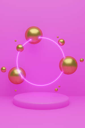 Cylindrical geometric mockup podium on colored background with golden glittering balls and luminous circle backlighting. Minimalistic style for advertising cosmetics product. 3d render illustration Reklamní fotografie