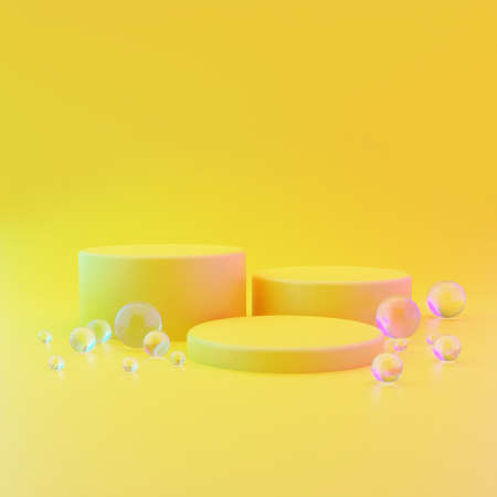 Three cylindrical geometric mockups of the podium on yellow illuminating background with round glass balls on the floor. Minimalistic trendy style for cosmetics advertising. 3d render illustration. Reklamní fotografie