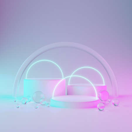 Three cylindrical geometric mockups podium on bright neon colored background with round glass balls, glowing circles. For advertising cosmetics or product. 3d render illustration.