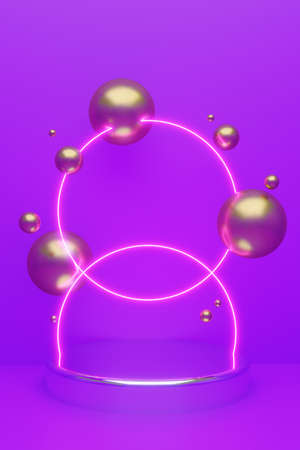 Cylindrical geometric mockup podium on colored background with golden glittering balls and luminous circle backlighting. Minimalistic style for advertising cosmetics product. 3d render illustration. 版權商用圖片 - 157845279